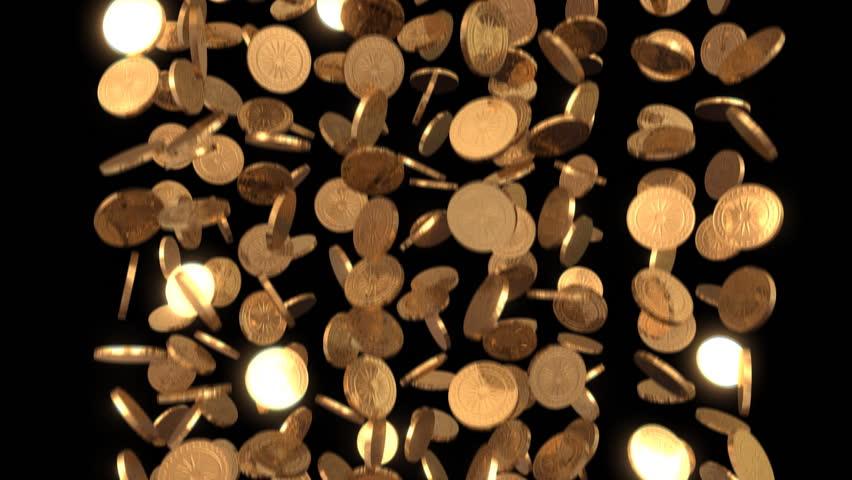Gold coins rain