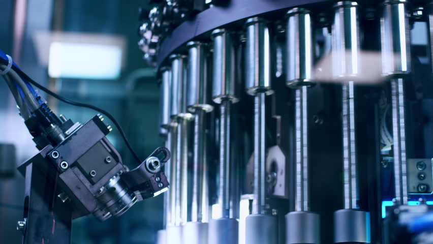 Pharmaceutical manufacturing machine. Pharmaceutical quality control technology. Automated industrial equipment at pharmaceutical factory. Pharmacy industry equipment. Modern pharmaceutical machine