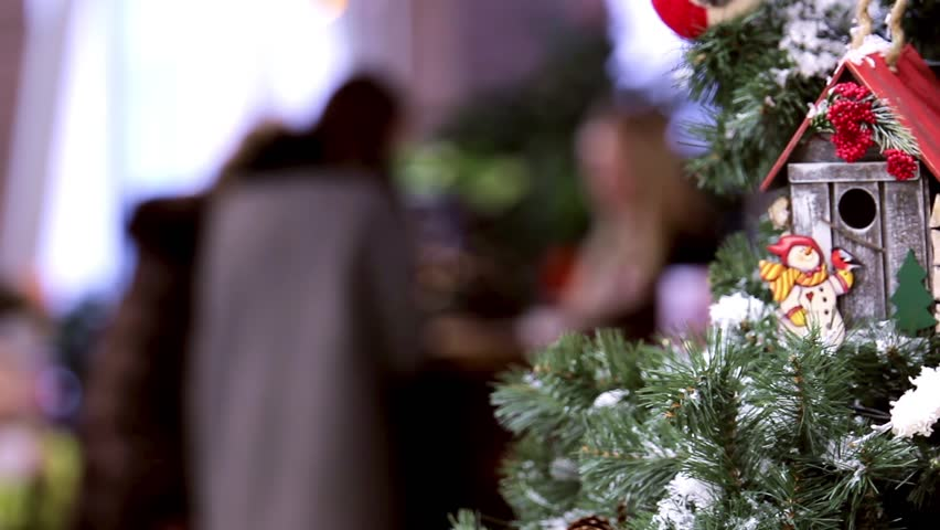 Static closeup shot of New Year tree decorated cafe | Shutterstock HD Video #26087918