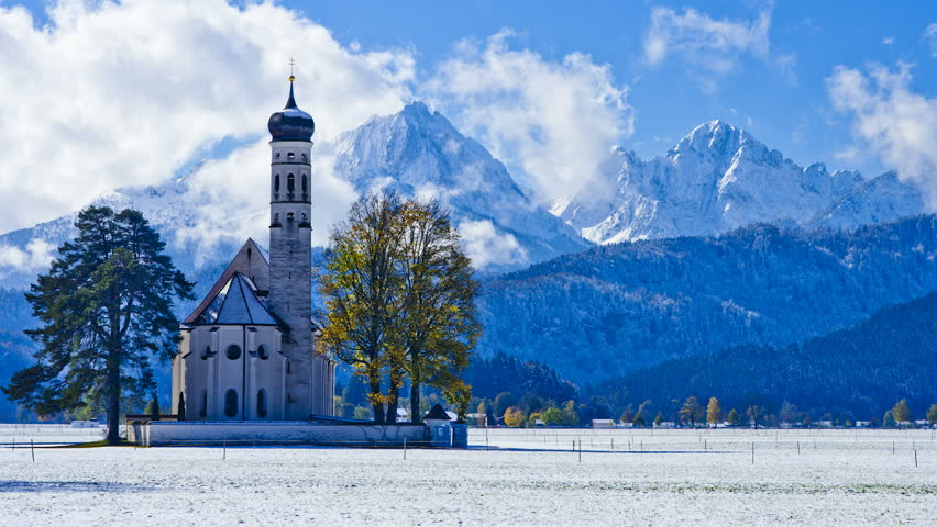 St. Coleman's Church with snowcapped mountain in background, Schwangau, Germany