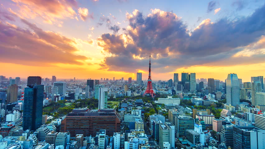 Time lapse view sunset at Tokyo city with Tokyo Tower in japan