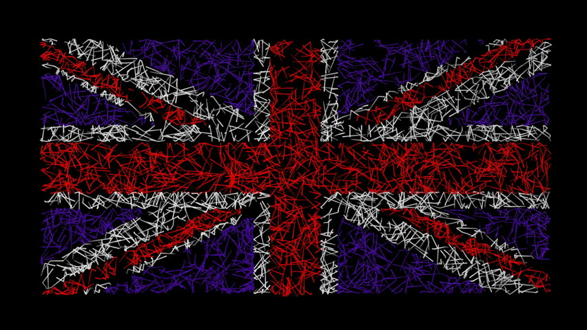 British Union Jack flag created by animated scribble lines.