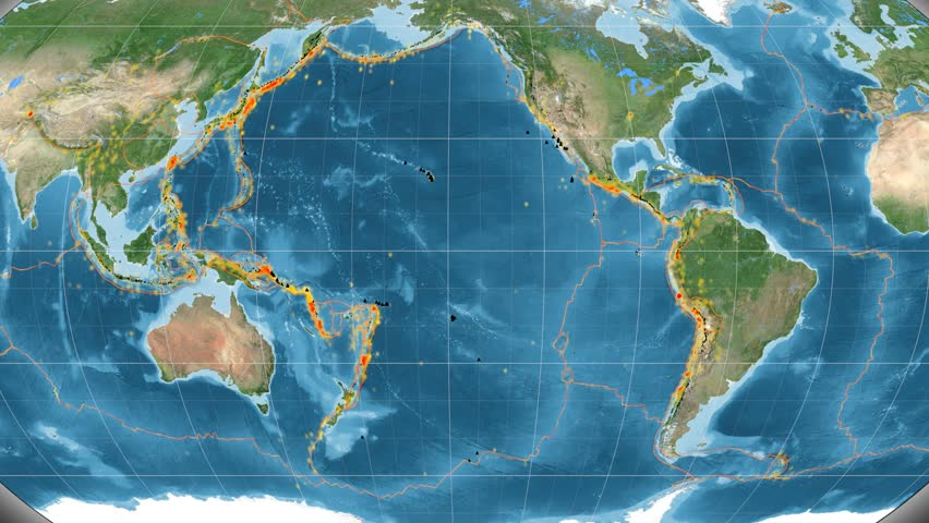 Pacific tectonic plate featured & animated against the global satellite map in the Kavrayskiy VII projection. Tectonic plates borders (Peter Bird's division), earthquakes, volcanoes