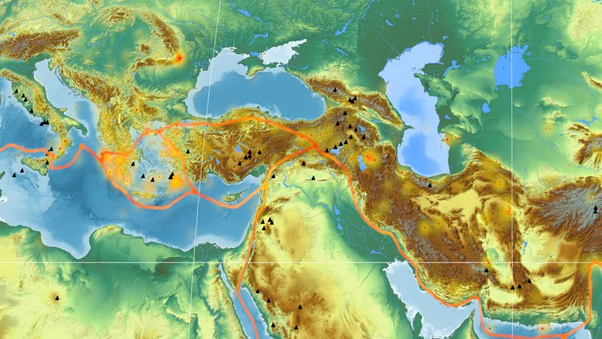Aegean Sea tectonic plate featured & animated against the global relief map in the Kavrayskiy VII projection. Tectonic plates borders (Peter Bird's division), earthquakes, volcanoes | Shutterstock HD Video #26134988