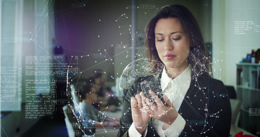 The future connection of people through a hologram,communication and sending of important files,the business lady in the office,holds the phone,trading and selling (shares).Concept:future technologies #26153558