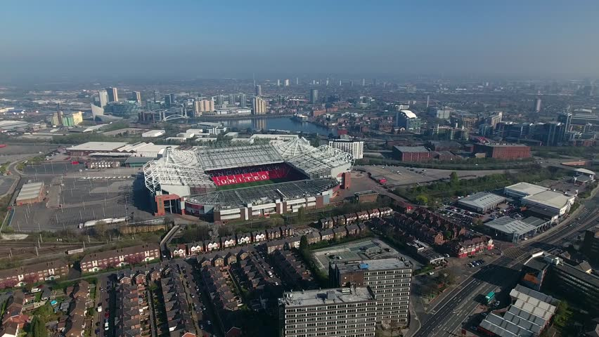 MANCHESTER, UK - APRIL 2017: Helicopter aerial view of Manchester United Football Club, Manchester, UK.