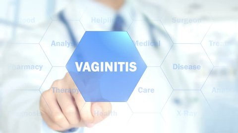 Vaginitis, Doctor working on holographic interface, Motion Graphics