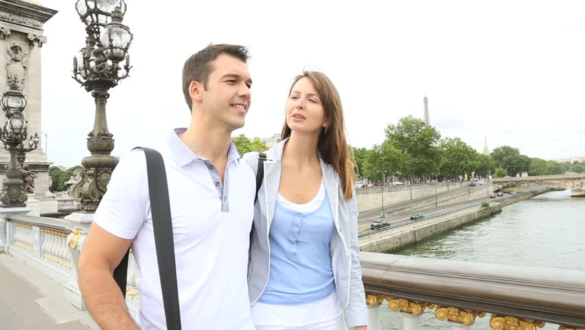 Couple in Paris walking on the bridge Alexander the Third | Shutterstock HD Video #2621258