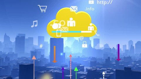4k,Update the informative to cloud,download data to modern urban building,upload and downloading progress,web tech,virtual internet concept,on-line services,social media icons floating up. cg_03871_4k