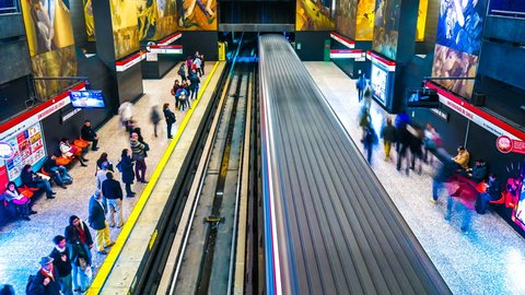 SANTIAGO DE CHILE, CHILE - DECEMBER 23: View as a train pass by in a subway station on December 23, 2015 in Santiago de Chile, Chile.