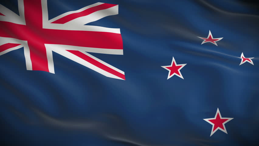 Highly detailed flag of New Zealand ripples in the wind. Looped 3d animation for continuous playback.