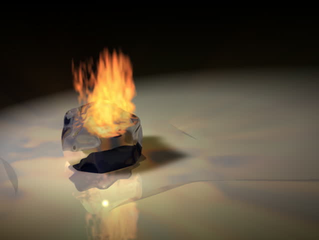 Computer-generated animated flame melting an ice cube (concept: opposites)