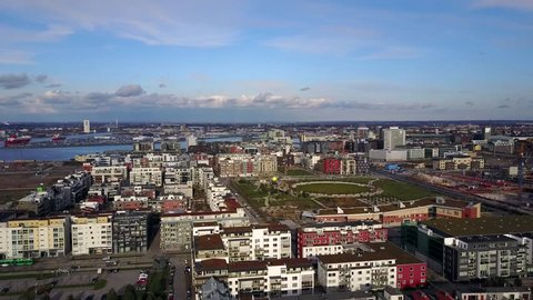 Amazing aerial view of the Malmo Western Harbour with beautiful houses and the sea on the horizon.