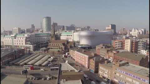 Birmingham UK, 4K Aerial Video clip of Bull ring and Selfridges, crane shot