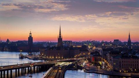 Time lapse of central Stockholm at dusk.