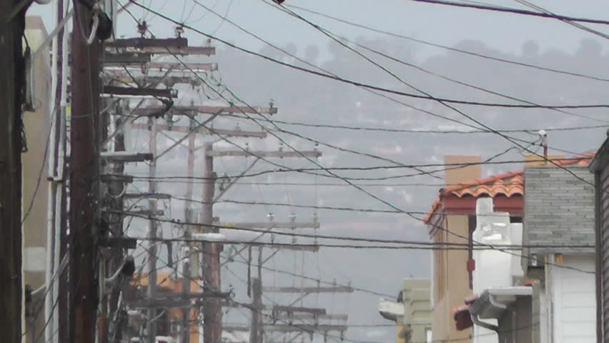 Backstreet Alley  electric poles heat mirage