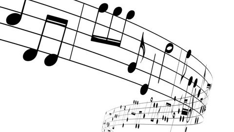 Music notes flowing on white background, seamless animation
