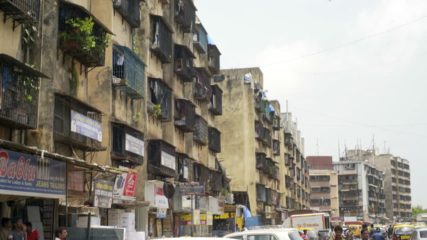 INDIA   CIRCA JUNE 2016   Old Crumbling Poor Apartment Buildings Block,  People, Mumbai Part 88