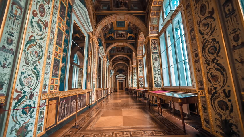 SAINT PETERSBURG, RUSSIA - FEB, 2017:The Raphael Loggias at State Hermitage Museum. Raphael Loggias are the exact copy of the Gallery in the Papal Palace in Vatican City.