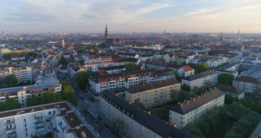 Aerial view of Munich Germany City at sunset from sky. | Shutterstock HD Video #26374709