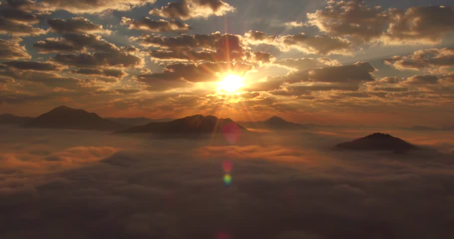 Aerial shot of the sunrise over the mist at Chiang Khan, Thailand  #26375108