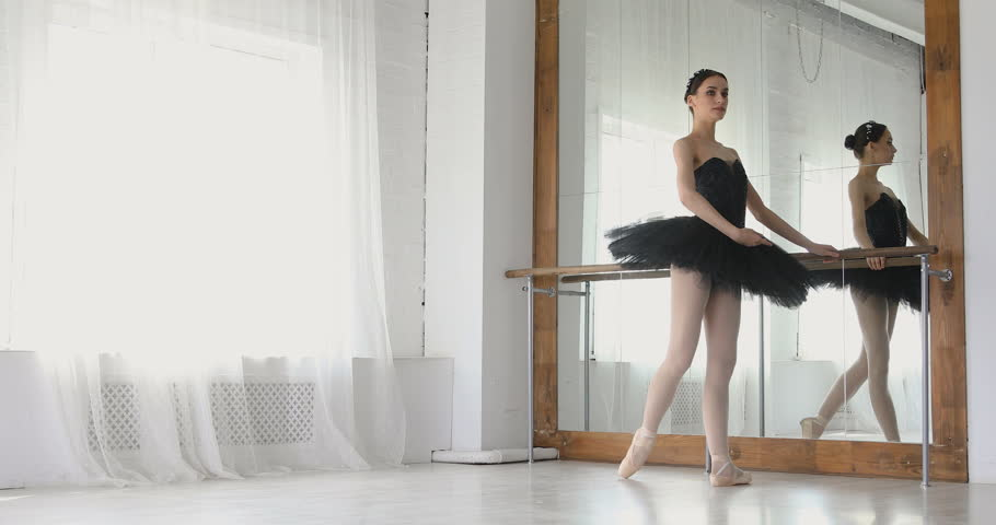 Ballerina stretches on bar, graceful girl practicing ballet in the Studio | Shutterstock HD Video #26395088