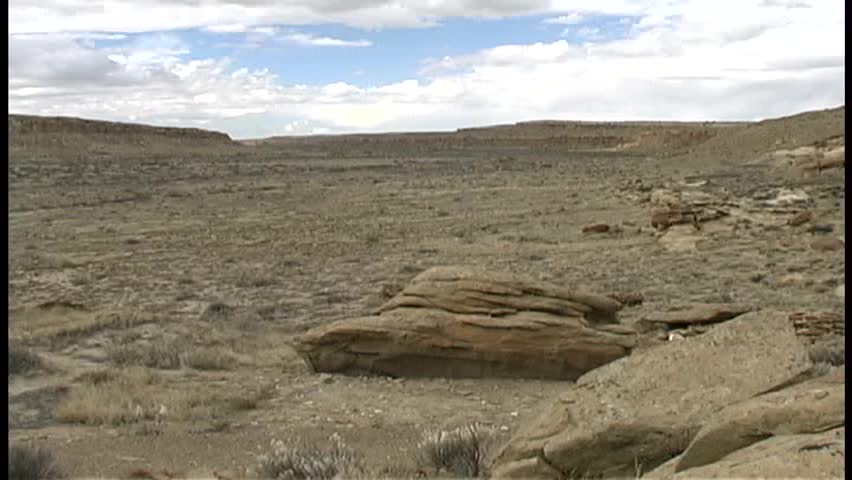 Time lapse of a wide view of Chaco Canyon in New Mexico just on the edge of winter, on a windy, partly cloudy day.