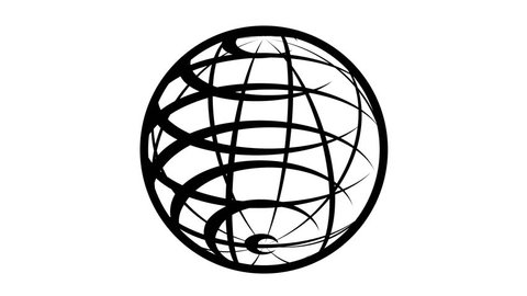 Parallels and Meridians. Globe Icon 360 - View of the Northern Hemisphere. Earth rotating 360 degrees. Seamless Loop. Black and white.