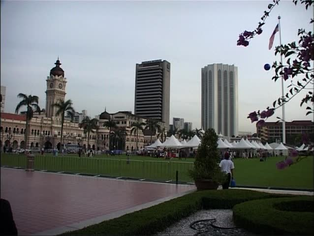 Shot of the Merdeka Square in Kuala Lumpur, Malaysia at dusk. This is also called Independence Square; the British Union Jack was lowered and the Malaysian flag raised  here for the first time in 1957