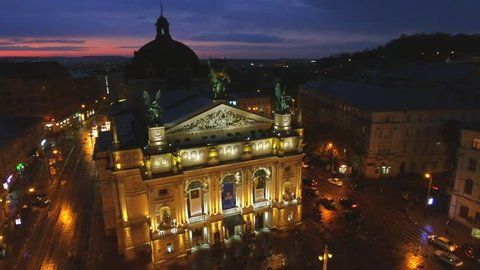 LVIV, UKRAINE - April 26, 2017: Night aerial view of Lvov Opera. Ukraine.