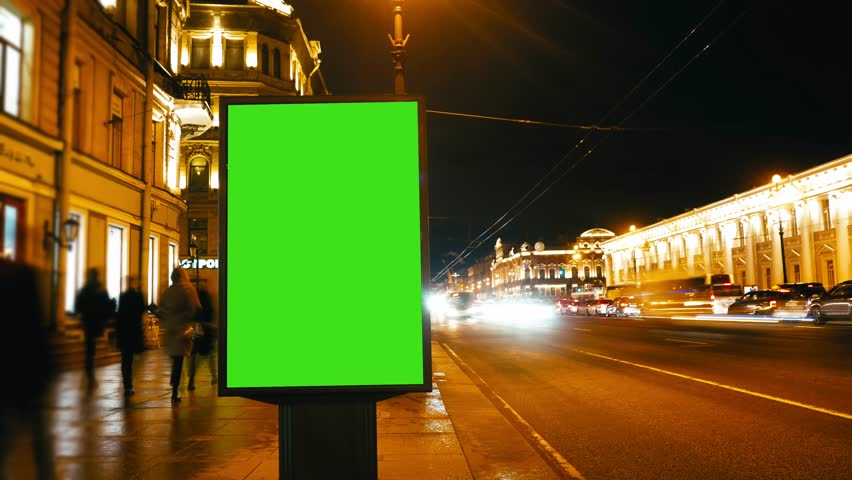 Time Lapse.A Billboard with a Green Screen on a Busy Street.Time Lapse   Shutterstock HD Video #26502386