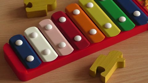 Xylophone toy in rainbow color. Education toy for kid and toddler