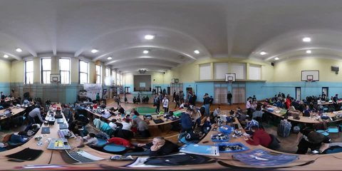 Opole/poland - Apr 25 2017: Contest on Robotics Designing in Opole. 360Vr Video 360 Degrees, Flat Spherical Panorama of the Competition. Risen Young School Children Are Creating and Programming the