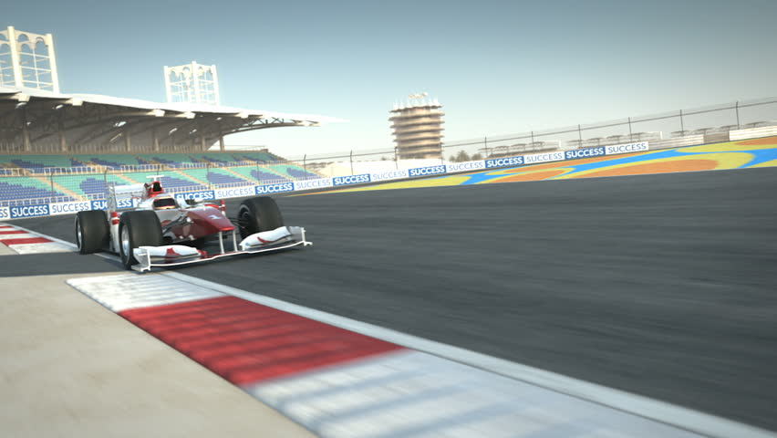 Formula One race car on desert circuit passing camera - high quality 3d animation - visit our portfolio for more