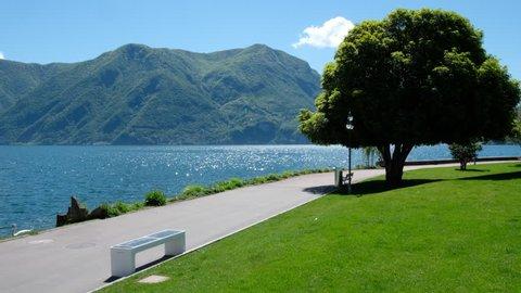 Lugano, Switzerland. Lake panorma.