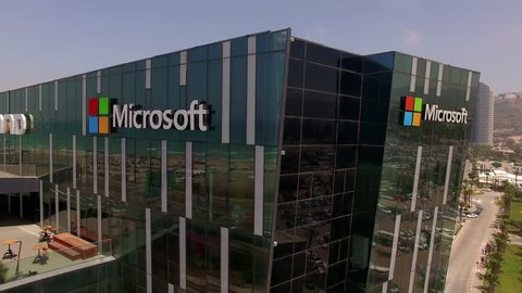 Haifa, Israel - May 7, 2017: Aerial footage of a Microsoft building in Haifa's M.A.T.A.M high tech campus. Microsoft is best known for it's software products.