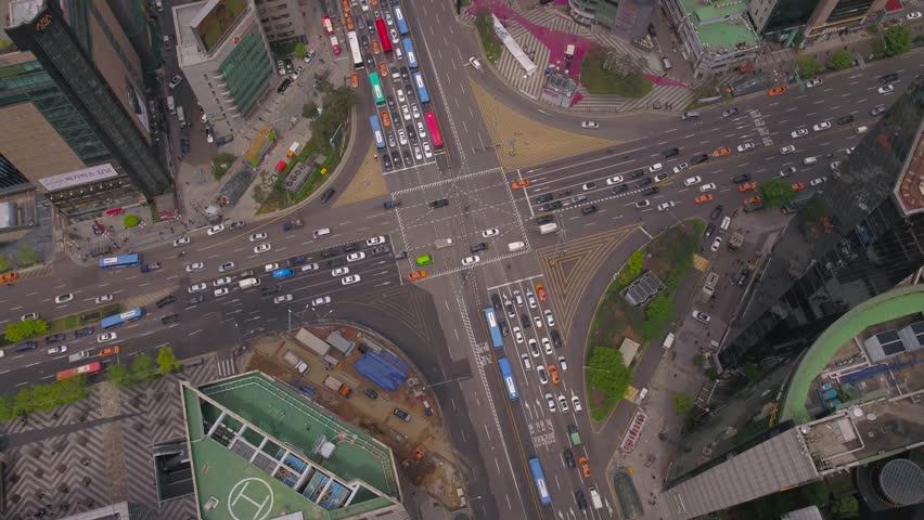 Aerial Korea Seoul April 2017 Gangnam Hazy Overcast Day