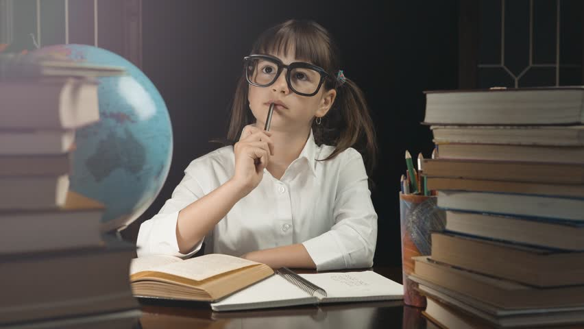 Eight years thoughtful school girl, wears glasses, have an idea, studying place with books and globe, eureka concept, 30FPS