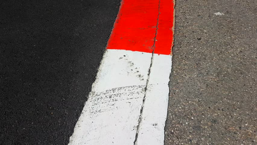 Formula 1 Surface in Monaco - Texture of Motor Race Asphalt and Curb Grand Prix Circuit - 4K Video