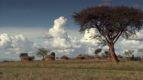 Village of conical huts on Tanzanian plain