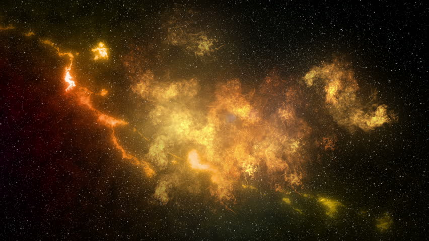 Flying through a glowing golden cloud into starry space #26659768