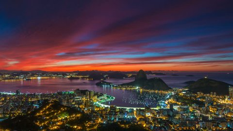 gorgeous sunset rio de janeiro city famous panorama 4k time lapse brasil