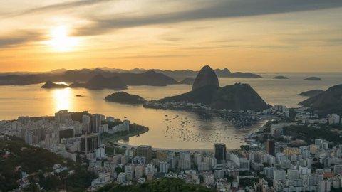 rio de janeiro golden sunset sky cityscape bay panorama 4k time lapse brasil