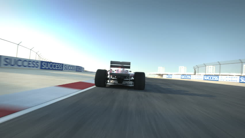 driving behind Formula One race car on desert circuit - high quality 3d animation - visit our portfolio for more