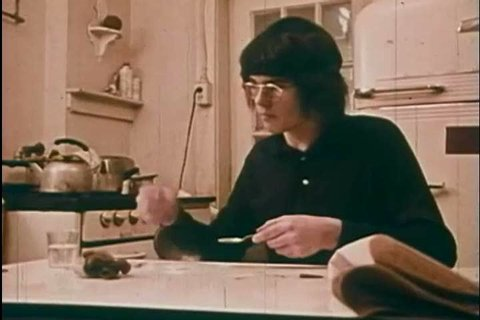 1960s: An animation shows narcotics and a heroin addict prepares a syringe and shoots up, in a kitchen, in 1969.