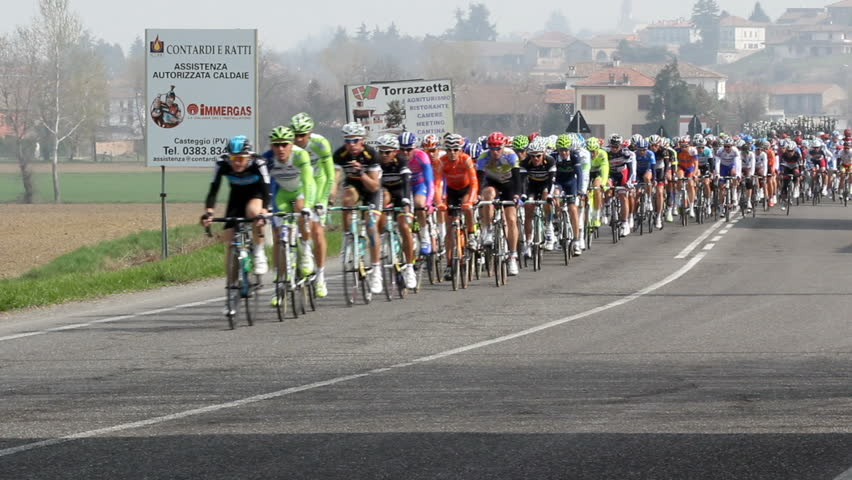 "MONTEBELLO DELLA BATTAGLIA, ITALY - MARCH 17: Milan Sanremo cycle race. ""The Spring classic"" annual cycle race Milano Sanremo  on March 30, 2012  in Montebello d. Batt., PV, Italy."