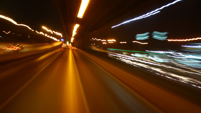 timelapse Driving at high speed through the streets