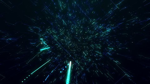 The flight of the camera into a technology structure with lines of chaos 3d animation