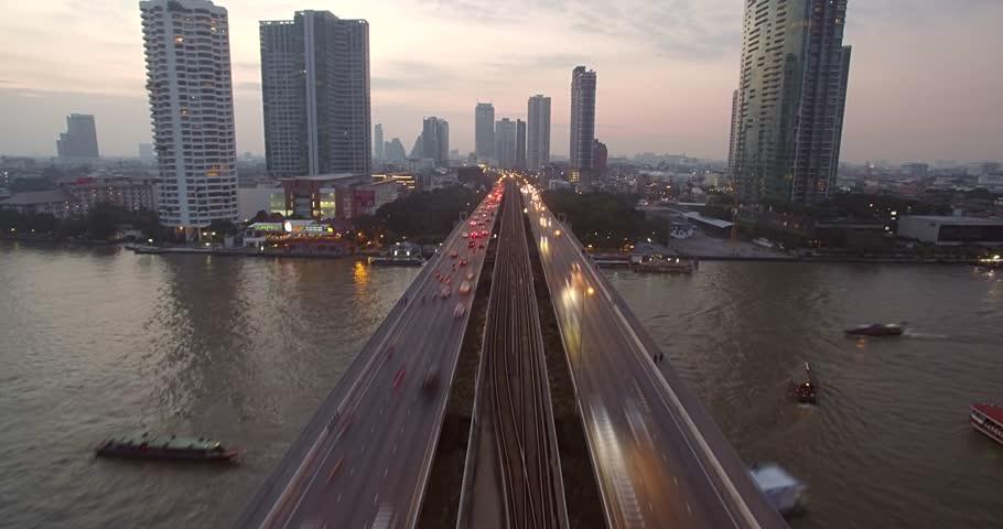 Aerial Hyperlapse of Traffic on Chao Phraya Bridge, Bangkok, Thailand