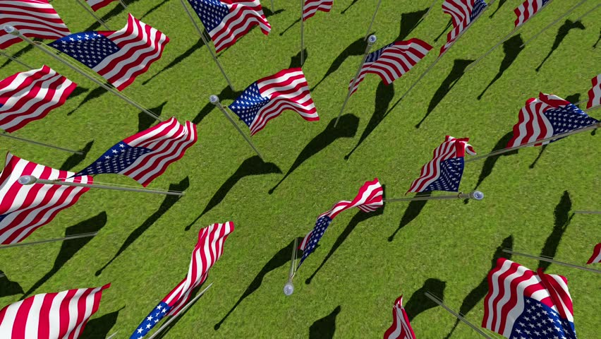 American flags on display for Memorial Day or July 4th. Three dimensional rendering animation. View from above.
